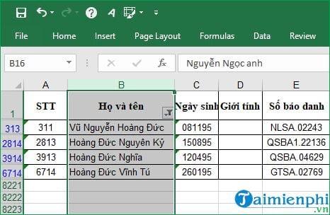 Cách tìm tên trong Excel 8