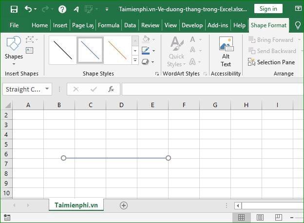Cách vẽ đường thẳng trong Excel