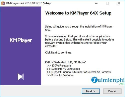 Install and use 64x kmp to listen to music and watch movies 4