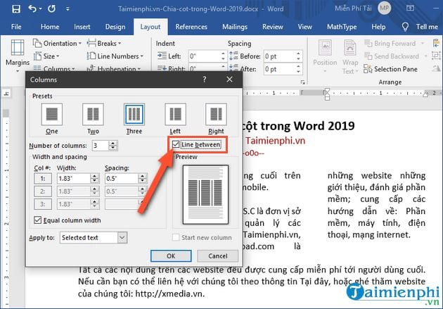 cach chia cot trong word 2019 6