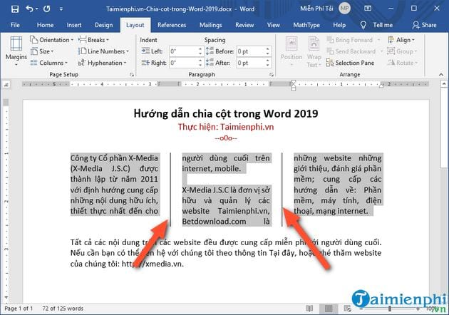 cach chia cot trong word 2019 7