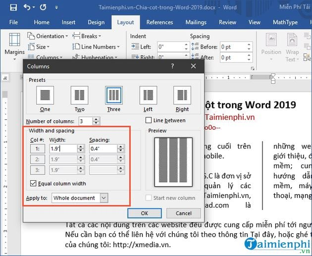 cach chia cot trong word 2019 8