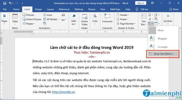 cach lam chu cai to o dau dong trong word 2019 3