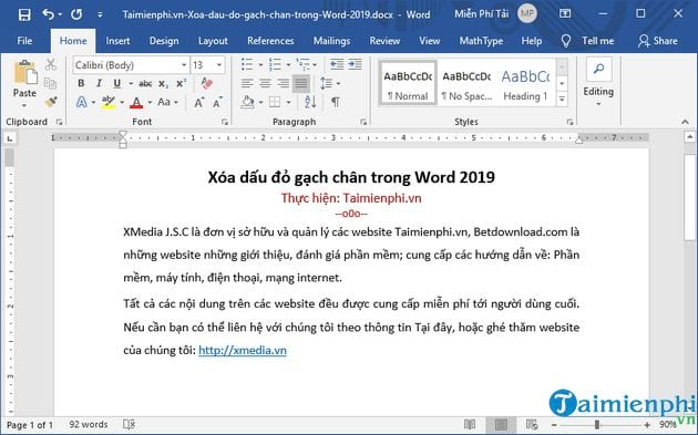 cach xoa dau do gach chan trong word 2019 5