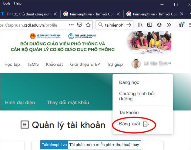 Hướng dẫn đăng nhập taphuan.csdl.edu.vn Chương trình tập huấn và bồi dưỡng Giáo viên