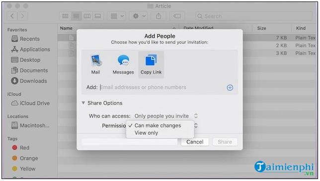 Cách chia sẻ file, thư mục iCloud trên Mac