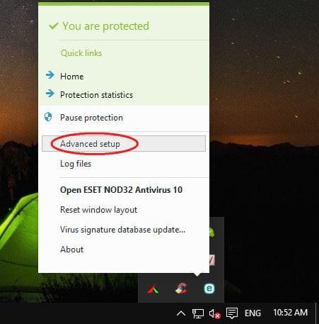cach chan website bang eset nod32 antivirus