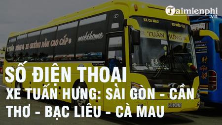 Số điện thoại Xe Tuấn Hưng tuyến Sài Gòn - Cần Thơ- Bạc Liêu - Cà Mau
