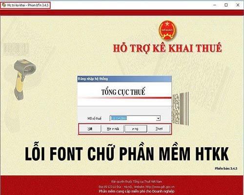 HTKK, xử lý lỗi font chữ hiển thị