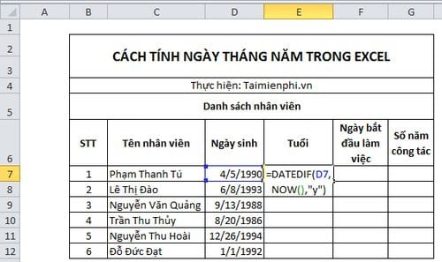 cach tinh ngay thang nam trong excel 3
