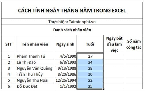 cach tinh ngay thang nam trong excel 4