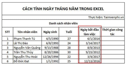cach tinh ngay thang nam trong excel 5