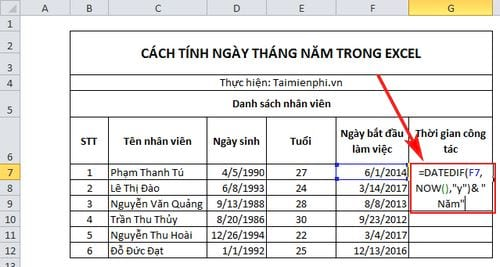 cach tinh ngay thang nam trong excel 6