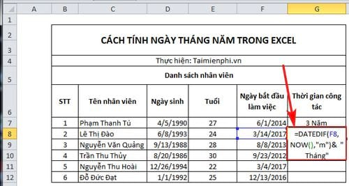 cach tinh ngay thang nam trong excel 7