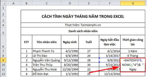cach tinh ngay thang nam trong excel 8