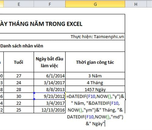 cach tinh ngay thang nam trong excel 9
