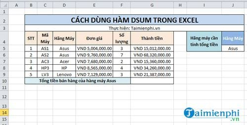 Hàm Dsum trong Excel 2