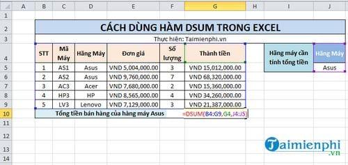 Hàm Dsum trong Excel 3