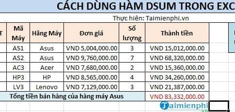 Hàm Dsum trong Excel 4
