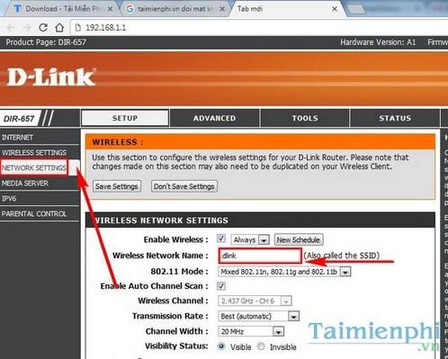 Cách đổi tên WiFi DLink, thay wifi name modem Dlink