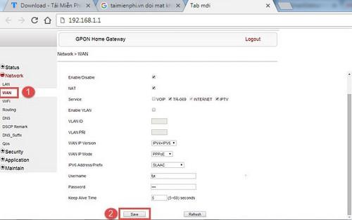 Cấu hình thông số modem Gpon cáp quang FPT để vào internet