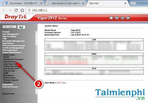 Đổi mật khẩu quản trị đăng nhập modem, router Vigor Draytek
