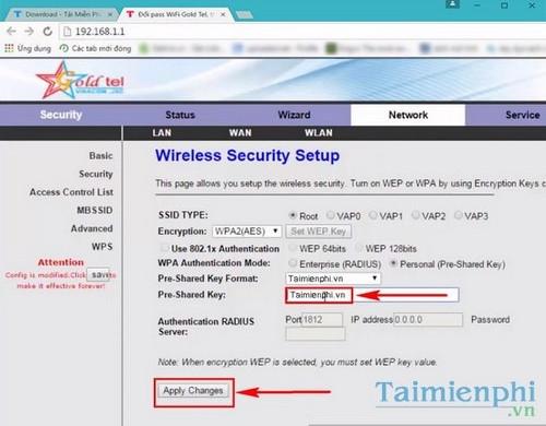 Đổi pass WiFi Gold Tel, thay đổi mật khẩu Model WiFi Gold Tel