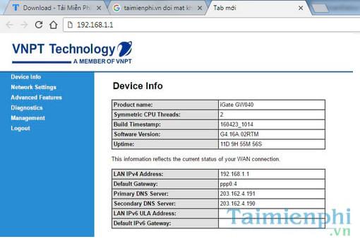 User/Password đăng nhập modem iGate GW040 GPON ONT của VNPT đổi pass wifi 3