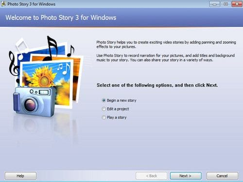 Set up a slide of you photo story 3 for windows