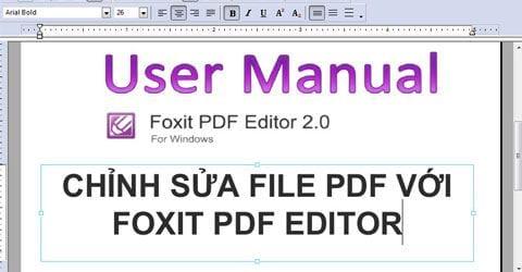 chinh sua file pdf voi foxit pdf editor