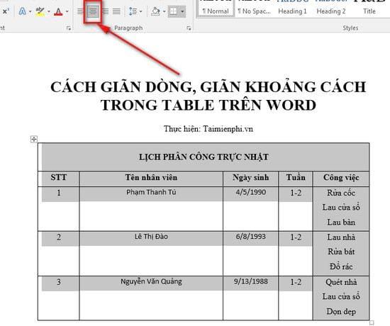 Cách căn giữa ô trong bảng trên Word 2
