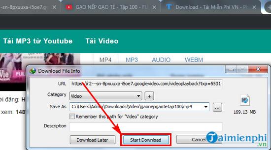 Hướng dẫn tải Gạo nếp gạo tẻ từ Youtube về máy tính xem Offline