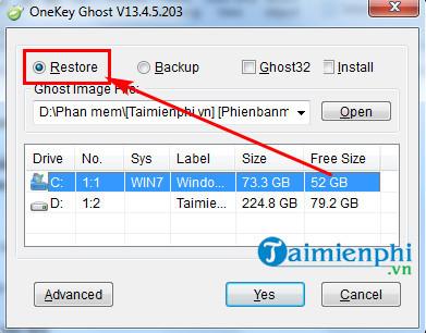 Cách sử dụng Onekey Ghost, tạo file và ghost Windows 2