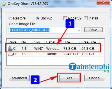 Cách sử dụng Onekey Ghost, tạo file và ghost Windows 9