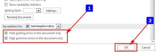 Cách tắt check spelling trong Word 4