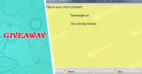 giveaway ban quyen mien phi vov sticky notes ung dung tao ghi chu tu 4 5
