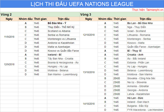 Uefa Nations League 3 competition schedule