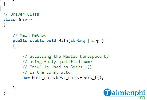 Namespace trong C# là gì?