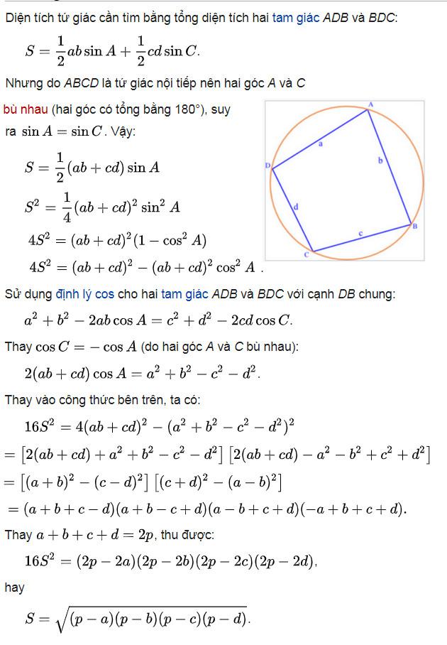 Công thức tính diện tích tứ giác 9