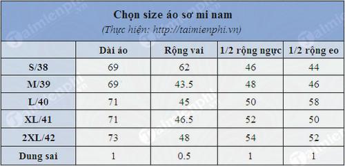Cách chọn size áo nam 4