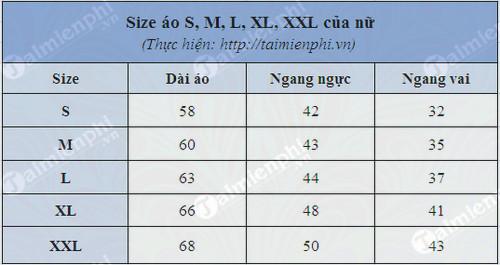Bảng size áo S, M, L, XL, XXL, cách chọn size áo 4