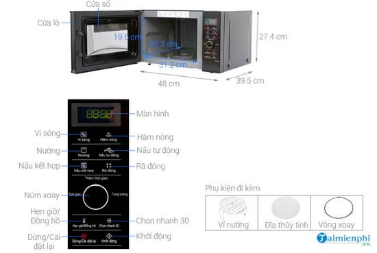Kích thước lò vi sóng chuẩn, phổ biến 8