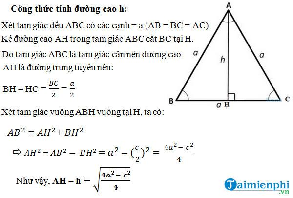 Cách tính đường cao trong tam giác cân, đều, vuông 2