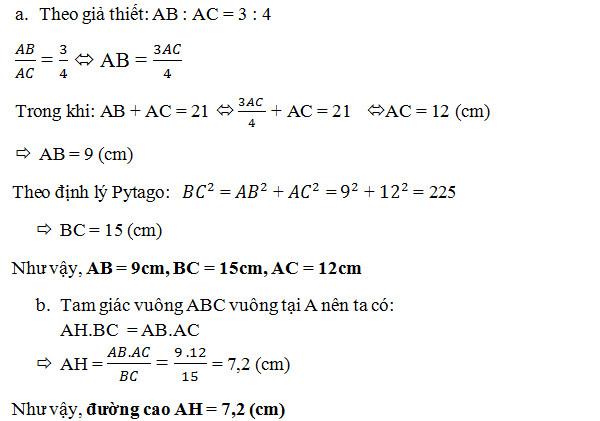 Cách tính đường cao trong tam giác cân, đều, vuông 5
