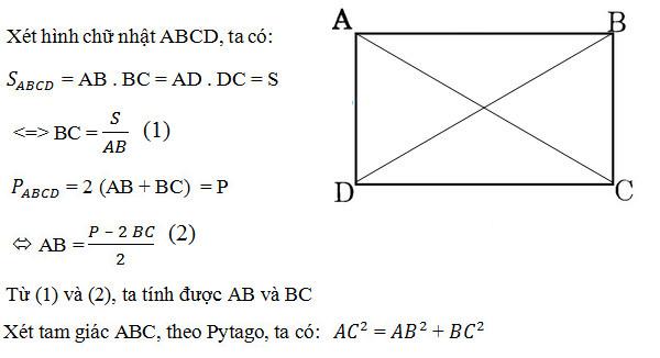 Cách tính đường chéo hình chữ nhật khi biết độ dài 2 cạnh hoặc diện tích, chu vi 2