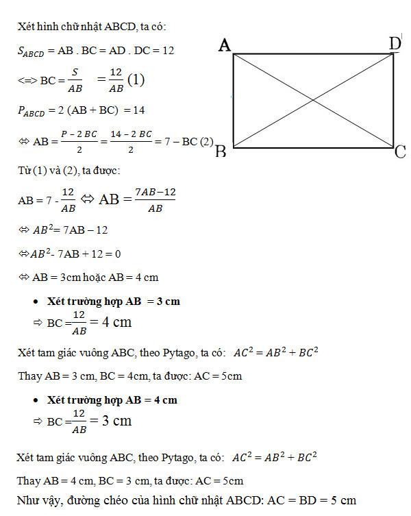 Cách tính đường chéo hình chữ nhật khi biết độ dài 2 cạnh hoặc diện tích, chu vi 4