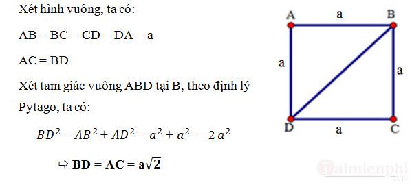 Cách tính đường chéo hình vuông 2