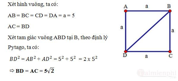 Cách tính đường chéo hình vuông 3