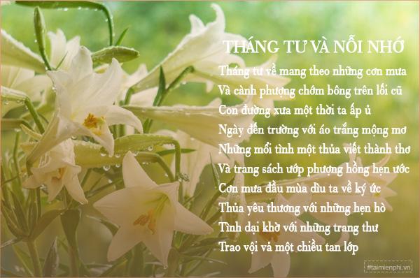 Bài thơ hay chào đón tháng tư