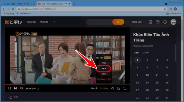 cach chinh chat luong video tren MangoTV